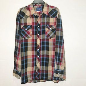 Wrangler Western Shirt Pearl Snap Plaid sz XL tall